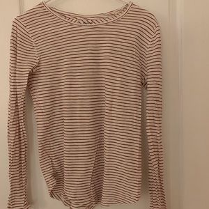 Madewell Long Sleeve Cranberry Striped Tee